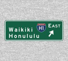 Waikiki-Honolulu, HI Road Sign, USA Kids Tee