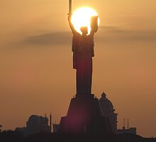 Sunset beyond the Motherland Monument, Kiev, Ukraine by Natalia Lvova