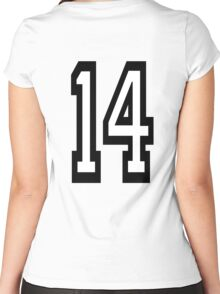 14, TEAM SPORTS, NUMBER 14, FOURTEEN, FOURTEENTH, Competition,  Women's Fitted Scoop T-Shirt