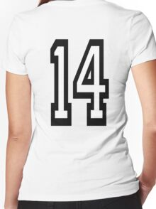 14, TEAM SPORTS, NUMBER 14, FOURTEEN, FOURTEENTH, Competition,  Women's Fitted V-Neck T-Shirt