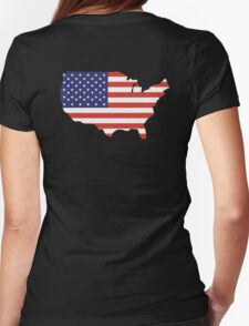 American Flag, Country Outline, America, Americana, Stars & Stripes, USA, Pure & Simple Womens Fitted T-Shirt