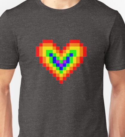 Graphic Pixel Rainbow Heart Unisex T-Shirt