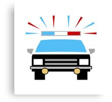 Black and White Police Car Canvas Print