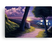 Path to Sunset Sea Canvas Print