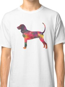 Black and Tan Coonhound Colorful Geometric Pattern Silhouette - Multi Classic T-Shirt