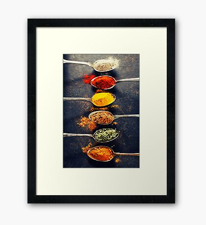 Colorful spices in metal spoons  Framed Print