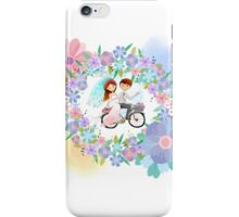 Bride and Groom on Bicycle Floral Wreath Wedding iPhone Case/Skin