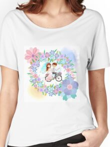 Bride and Groom on Bicycle Floral Wreath Wedding Women's Relaxed Fit T-Shirt