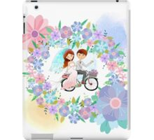 Bride and Groom on Bicycle Floral Wreath Wedding iPad Case/Skin