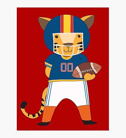 Cartoon Animals Sports Tiger Football Player Photographic Print