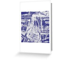 Blue And White Textured Abstract Greeting Card
