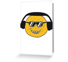 eating lemon delicious sour face sunglasses cool summer headphones music dj party club celebrate discounted Greeting Card