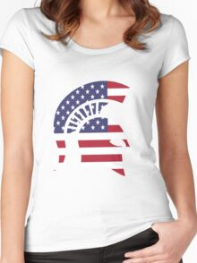 michigan state university michigan spartans MSU american flag america Women's Fitted Scoop T-Shirt