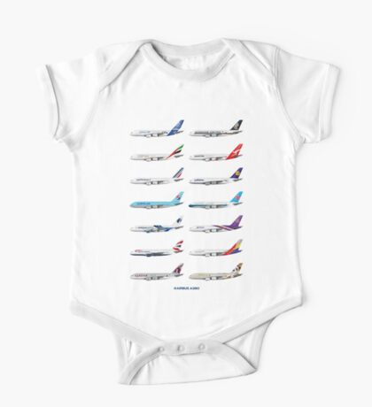 Airbus A380 Operators Illustration - Blue Version One Piece - Short Sleeve