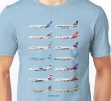 Airbus A380 Operators Illustration - Blue Version Unisex T-Shirt