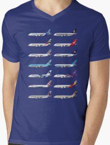 Airbus A380 Operators Illustration - Blue Version Mens V-Neck T-Shirt