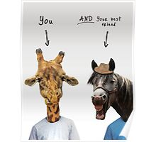 Giraffe and horse funny Poster