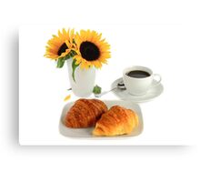 Breakfast – Croissants and Coffee. Canvas Print