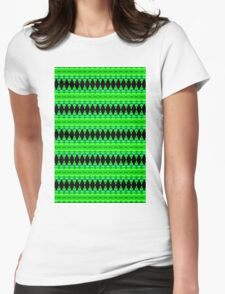 Black Diamonds on Green Womens Fitted T-Shirt