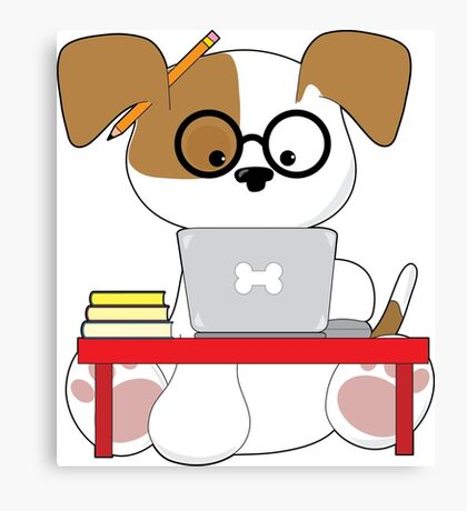Cute Puppy and Laptop Canvas Print