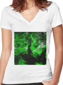 Emerald Blast Women's Fitted V-Neck T-Shirt