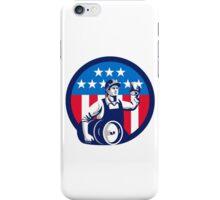 American Builder Beer Keg Flag Circle Retro iPhone Case/Skin