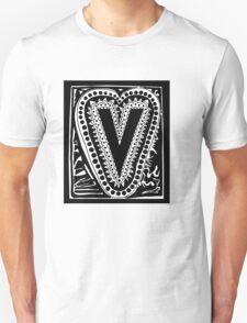 Initial V Black and White Unisex T-Shirt