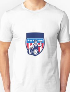 American Construction Worker Beer Keg Crest Retro Unisex T-Shirt