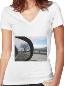 Tree Reflection Women's Fitted V-Neck T-Shirt