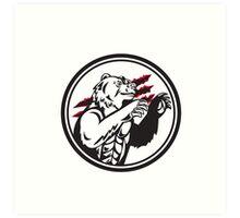 California Grizzly Bear Smirk Paw Circle Retro Art Print