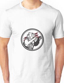 California Grizzly Bear Smirk Paw Circle Retro Unisex T-Shirt