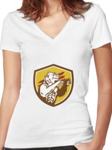 California Grizzly Bear Smirking Claw Marks Crest Retro Women's Fitted V-Neck T-Shirt