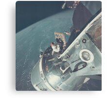 Nasa Astronaut Opening Hatch Canvas Print