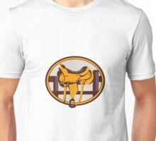 Western Saddle Fence Oval Retro Unisex T-Shirt