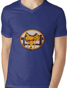 Western Saddle Fence Oval Retro Mens V-Neck T-Shirt