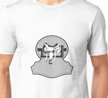 Modern Western Saddle Fence Oval Black and White Unisex T-Shirt