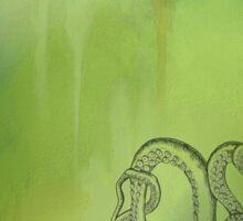 Octopus - Green and Blue Background Sticker