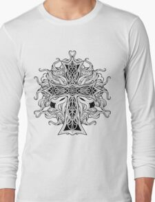 image of cross in celtic style with ribbons of fire Long Sleeve T-Shirt