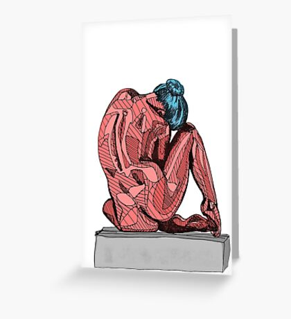 Female Nude Red I Greeting Card