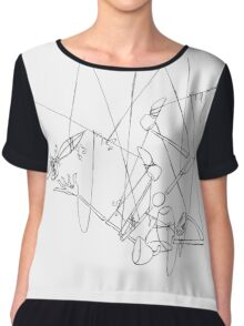 Puppet Hanging Upside Down - Line Art Only Chiffon Top