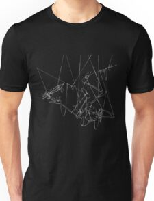 Puppet Hanging Upside Down - White Line Art Only Unisex T-Shirt