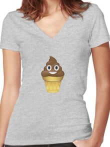 Poo emoji icecream Women's Fitted V-Neck T-Shirt