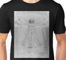 Leonardo da Vinci Vitruvian Man Pen on Paper with Angel Wings Unisex T-Shirt