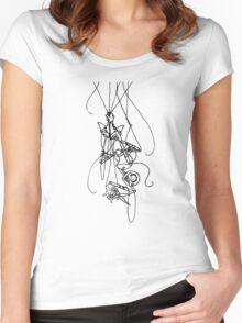 Puppet Descending - Line Art Only Women's Fitted Scoop T-Shirt