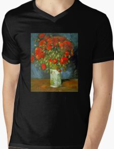 'Red Poppies' by Vincent Van Gogh (Reproduction) Mens V-Neck T-Shirt