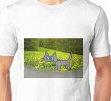 Cat In A Field Of Dandelions Unisex T-Shirt