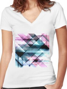 Pink Teal and Blue Abstract Geometric Pattern Women's Fitted V-Neck T-Shirt
