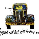 Old clapped out yellow Truck.Humor by Mary Taylor