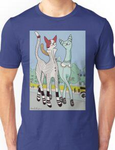 Francis and Clara, Art Deco Cats Unisex T-Shirt