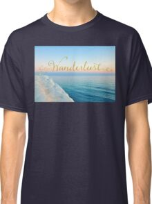 Wanderlust, Santorini Greece ocean coastal sentiment art Classic T-Shirt